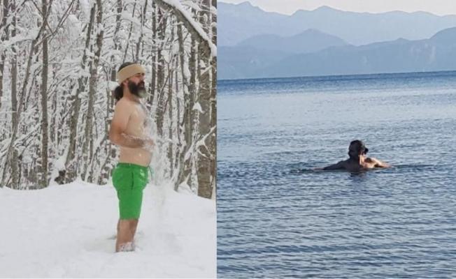 Yeni yıla kar banyosu ve deniz keyfiyle girdiler