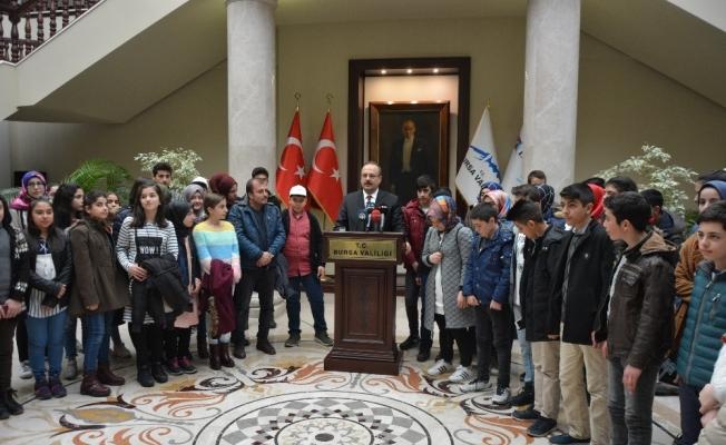 Erzurumlu çocuklar valiyi ziyaret etti