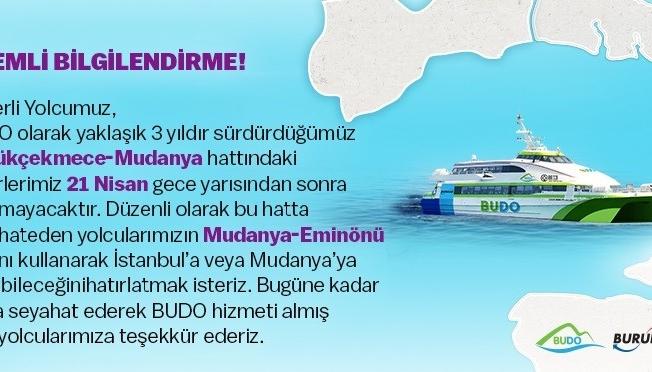 BUDO'nun Mudanya-Büyükçekmece seferleri sona eriyor