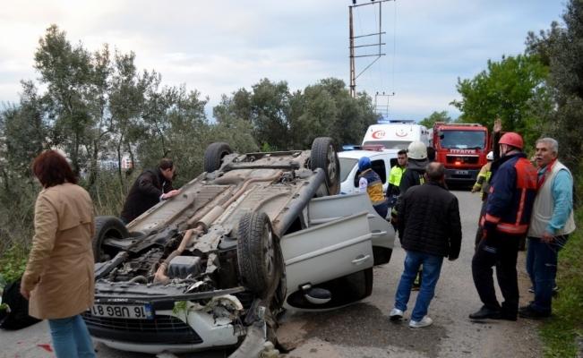 Mudanya'da takla atan araçta can pazarı