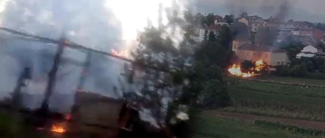 Yangın okula sıçramadan söndürüldü